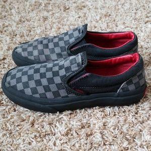 Van's Kids Black/Grey/Black Checkered Slip Ons